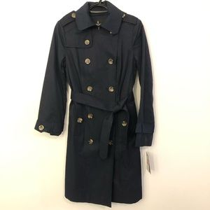 London Fog Double Breasted Dark Navy Trench Coat